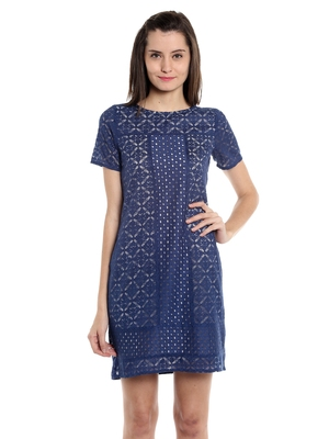 Blue woven polyester dresses