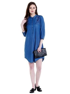 Blue woven viscose dresses