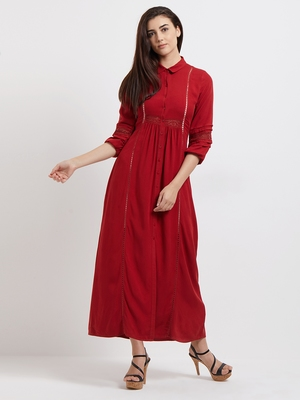 Red woven viscose dresses