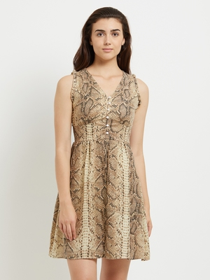 Beige woven polyester dresses