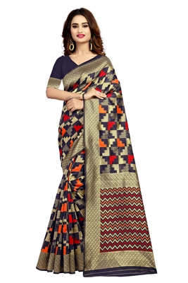 Black hand woven silk blend saree with blouse