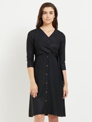 Black woven viscose dresses