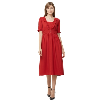 Red woven polyester dresses