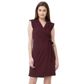 Maroon woven polyester dresses