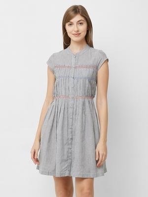 Grey woven viscose dresses