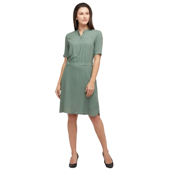 Green woven polyester dresses