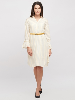 Yellow woven polyester dresses
