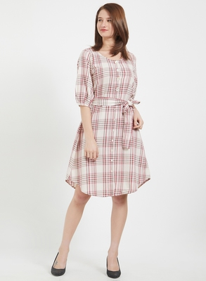 Pink woven cotton dresses