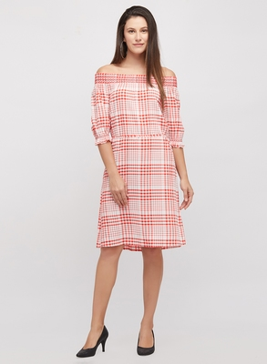 Red woven cotton dresses