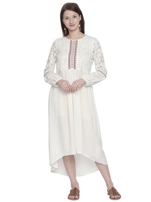 Off white woven viscose dresses