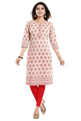 Beige printed cotton kurtas-and-kurtis
