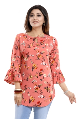 Peach printed crepe kurtas-and-kurtis