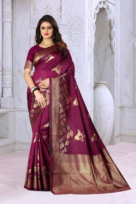 Wine woven banarasi silk saree with blouse