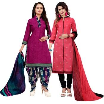 Magenta printed cotton salwar