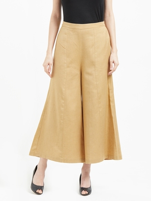 Beige Culottes With Drawstring Closure