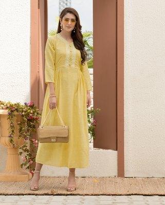 Yellow embroidered cotton silk ethnic-kurtis