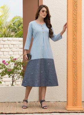 Light-blue embroidered rayon ethnic-kurtis