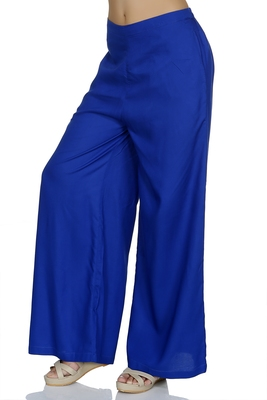 Blue Solid Flared Palazzo
