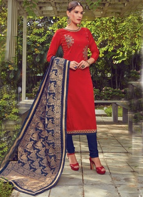 Red Embroidered Cotton Silk Semi Stitched Salwar With Dupatta