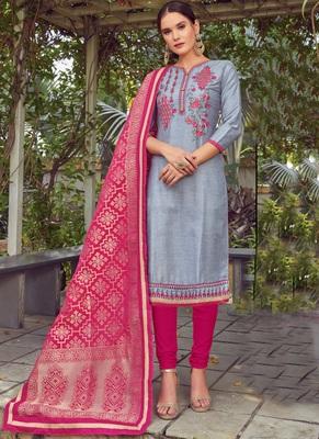 grey embroidered cotton silk semi stitched salwar with dupatta