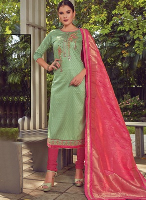 green embroidered cotton silk semi stitched salwar with dupatta