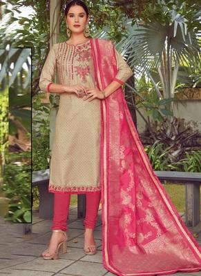 beige embroidered cotton silk semi stitched salwar with dupatta