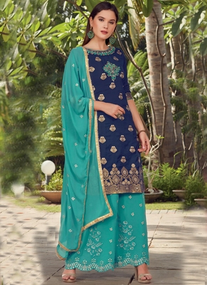 blue embroidered cotton silk semi stitched salwar with dupatta