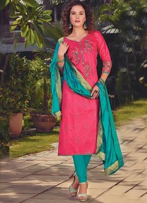magenta embroidered satin semi stitched salwar with dupatta