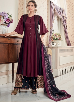 maroon embroidered silk blend stitched salwar with dupatta