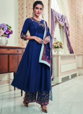 blue embroidered silk blend stitched salwar with dupatta