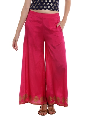 Pink Palazzo Pant With Print
