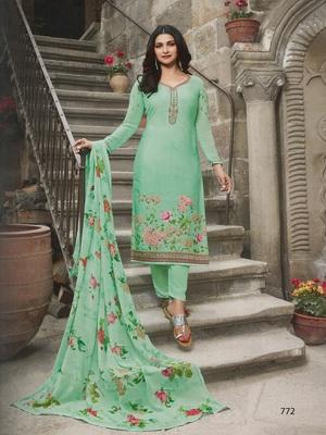 Green embroidered crepe salwar