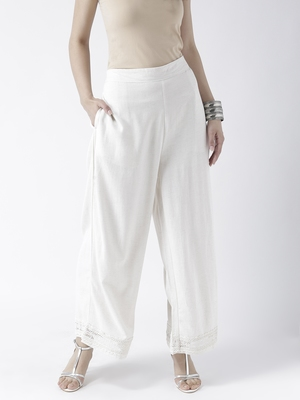 Off White Solid Palazzos
