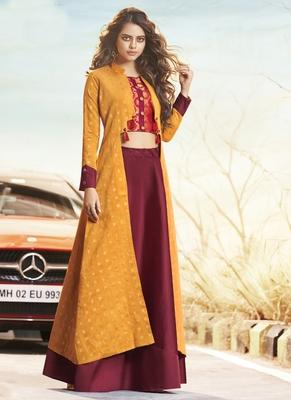 Yellow Jacquard Woven Pakistani Kurtis