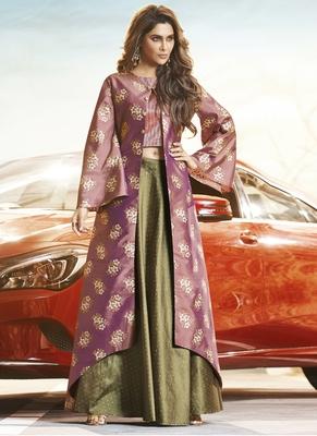 Light Violet Silk Woven Pakistani Kurtis