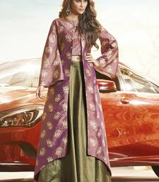 Light Violet Silk Woven Pakistani Kurtis