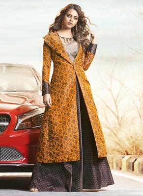 Mustard Jacquard Woven Pakistani Kurtis