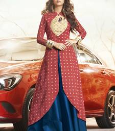 Maroon Jacquard Woven Pakistani Kurtis