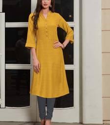 Mustard Rayon Woven Silk Kurtis