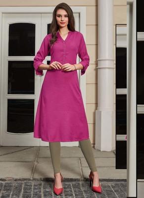 Magenta Rayon Woven Silk Kurtis