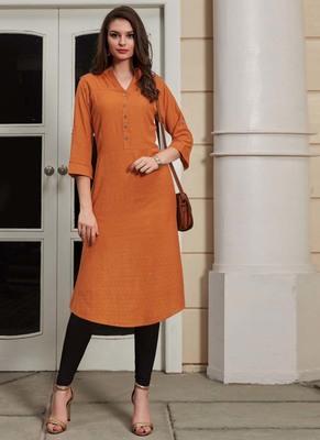 Orange Rayon Woven Silk Kurtis