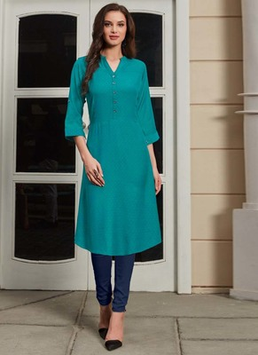 Dark Turquoise Rayon Woven Silk Kurtis