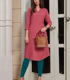 Dark Pink Rayon Woven Silk Kurtis