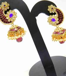 Buy purplish mahroon ethenic gold tone jhumkaas jhumka online