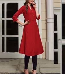 Red Rayon Woven Silk Kurtis