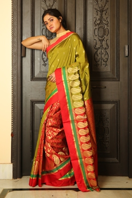Olive woven silk blend saree with blouse