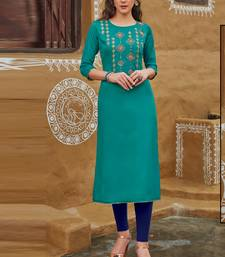 Dark Turquoise Rayon Embroidered Embroidered Kurtis