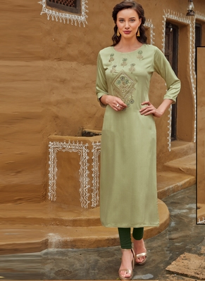 Pastel Rayon Embroidered Embroidered Kurtis