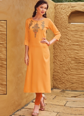 Light Orange Rayon Embroidered Embroidered Kurtis