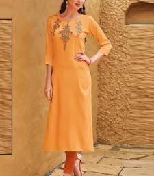 Light Orange Rayon Embroidered Embroidered Kurtis